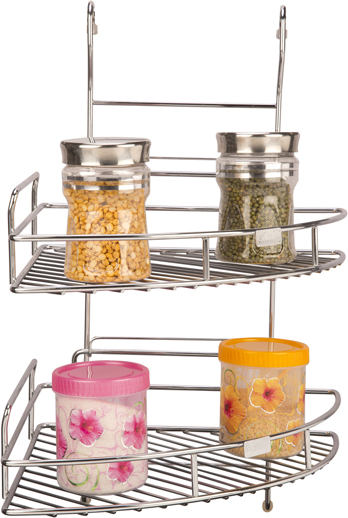 SS Corner Rack Double Shelf